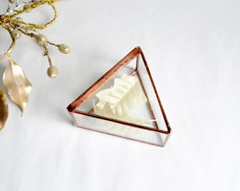 Wedding Ring Box, Triangle Clear Glass Ring Bearer, Glass Box With a Hinged Lid by jacquiesummer