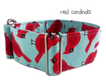 "blue dog collar *cardinals* red cardinal, bird, cyan dog collar, custom, martingale, buckle collar; 1""- 2"" wide, greyhound collar, boy, girl"