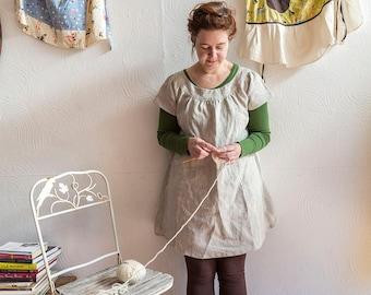 natural linen short-sleeved smock dress (ready to ship)