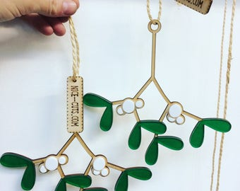 Lasercut Mistletoe Hanging Christmas Decoration