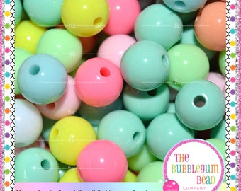 10mm PASTEL SPACER BEADS, Qty. 25, Pastel Round Beads, Solid Beads, Gumball Beads, Supplies, Bubblegum Beads, The Bubblegum Bead Co.