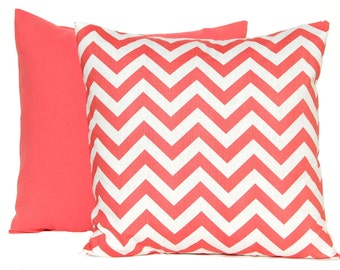 Coral Pillow Decorative Throw Pillow Covers 20 x 20 Inches Combo Pair Pillow Covers Coral Chevron, Chain or Greek with Solid
