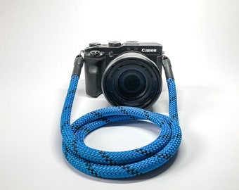 Camera Strap for DSLR blue/black-Camerastrap-rope-camera Band-10 mm-Universal shoulder strap-carrying strap-Sony Olympus-Seilstyles