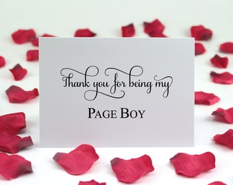 Thank You For Being My Page Boy Cards, Thank You Wedding Bridal Party Cards, Card Is Blank Inside For Your Personal Message, A6 size