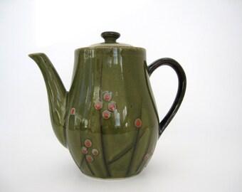 Vintage Ceramic Coffee Pot Tea Server Otagiri Reeds Stems Red Berries Green