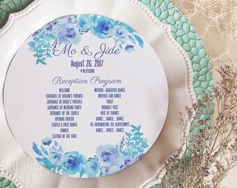 Menu Inserts • Watercolor Flowers Round Menu • Shades of Blue Circle Menu • Any Size ROUND MENU • Charger Menu • Free Domestic Shipping!