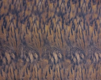"Leather CLOSEOUT 12""x12"" MATTE OWL Feathers on Camel Cowhide #304 2.5-3 oz / 1-1.2 mm PeggySueAlso™ E5360-01"