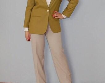 chartreuse wool blazer / 1980s wool fitted blazer / vintage menswear one button wool blazer