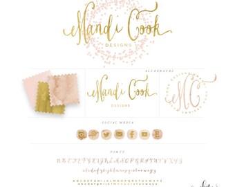 CONFETTI LOGO DESIGN -  logo design  - calligraphy logo - gold logo - blush pink logo - freshmint paperie