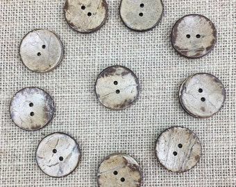 Coconut Buttons, 2.5cm Buttons, 1in Coconut Buttons, 25mm Coconut Buttons, 10 Coconut Buttons,