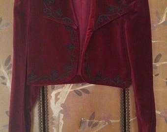 80s Burgundy velour bolero crop jacket by The J Peterman Company
