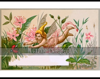 Instant Digital Download, Antique Victorian Graphic, Garden Fairy Trade Card, Label, Vintage Fantasy Print, Printable Image, Dragonfly Wings