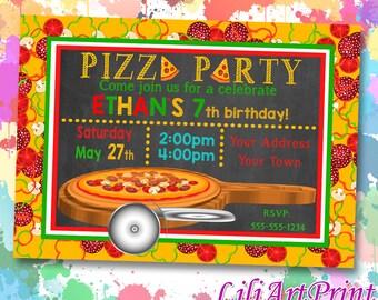 Pizza Party birthday invitation, pizza invite, pizza party birthday party, Digital file(14)