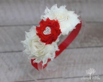 Ivory Valentines Headband - Heart Headband - Red and Ivory Headband - Baby Headband -  Girl Headband - Adult Headband - Gold Heart