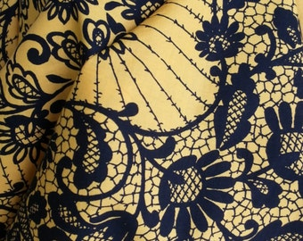 """Black and gold cotton scarf fabric panel by Les Indiennes de Nimes. 30"""" x 30"""""""