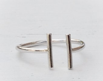Silver Ring Bar Ring Silver Open Bar Ring Double Bar Ring Minimalist Geometric Jewelry Parallel Bar Ring 21075