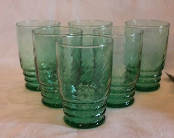 Set of 6 Libbey Glass Green Swirl Optic 9 oz Tumblers - Vintage Glassware