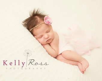 Pink Newborn Headbands, Baby Girl Headbands, Newborn Props, Baby Flower Headbands, Pink Headbands, Photography Prop