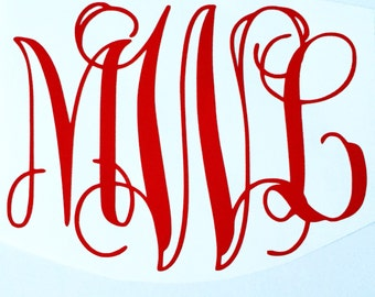 Vine Font Monogram Decal