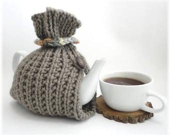 Tea Cosy, Tea Cozy, Taupe Tea Cosy, Handknit Tea Cozy, 6 cup teapot cozy