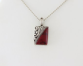Sterling Silver Red Howlite Necklace