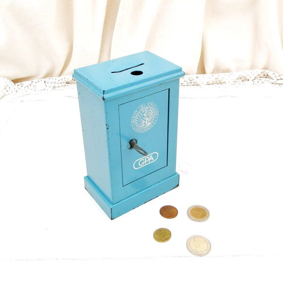 "Vintage French Replica Blue Metal Cash Safe "" Coffre Fort"" Coin Bank / Still Bank/ Piggy Bank, Money Box from France Promotional Gift GPA"