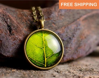 Leaf necklace, nature necklace, leaf jewelry, nature jewelry, green leaf necklace, nature jewelry, green necklace, picture necklace