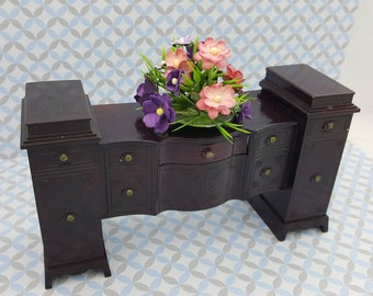 Ideal  Sideboard and Flowers Doll House Toy Dining room Hard Plastic