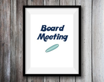 Board Meeting A4 Print, Wall Art, Home Decor
