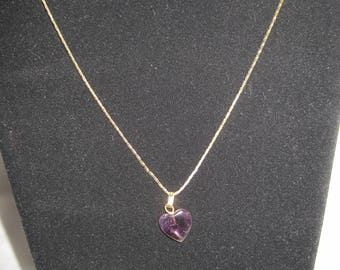 Vintage Gold Tone Purple Heart Necklace