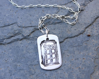 Police Box Dog Tag Necklace - Handmade fine silver pendant - Sterling silver chain - London UK fans - Free Shipping USA