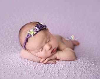 Newborn Tieback, Newborn Headband, Baby Headband, Lavender Baby Tieback
