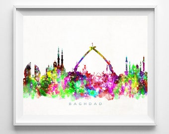Baghdad Skyline Print, Iraq Art, Baghdad Poster, Iraq Cityscape, Watercolor Print, Home Decor, Giclee, Bed Room Decor, Fathers Day Gift