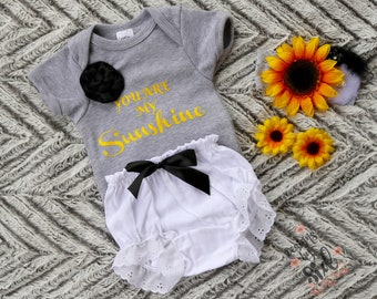 You are my Sunshine Sunflower baby girl set