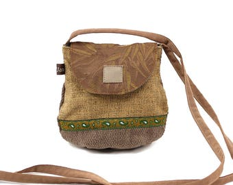 Clutch, mini shoulder bag, related fabrics. Sand color, lightweight and practical bag. Evening bag. Office bag.