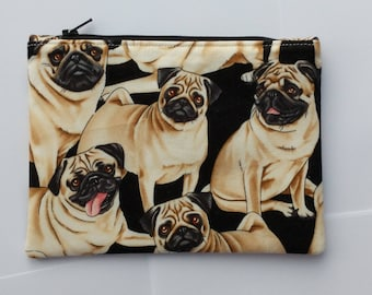 Pug fabric pouch, Cute and versatile fabric zipper pouch,  stocking filler, stocking stuffer