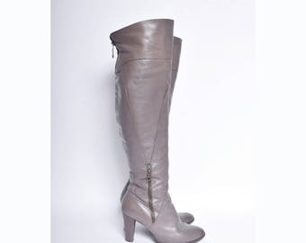 Vintage 90's Tall Gray Leather Boots with Side Zippers / Genuine Leather Over Knee Boots