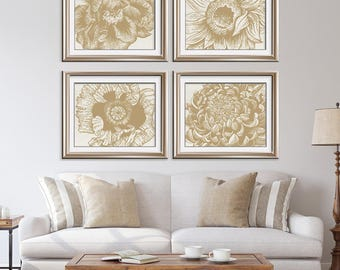 Flower Heads (Series D4 - Horizontal) Set of 4 - Art Prints (Featured in Gold Sky on Pale Italian Stone) Colors Customizable