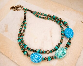 Collier en laiton Turquoise en céramique naturelle des pierres collier ethnique en laiton porcelaine