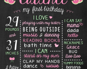 Watermelon Birthday Chalkboard Sign - Printable 1st Birthday Poster - Pink and Green Girl Birthday - Watermelon First Birthday Poster