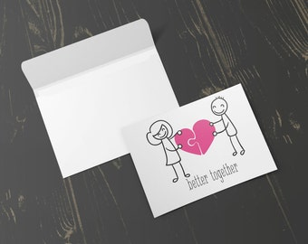 Better Together Greeting Card, Valentines Day Card, Valentines, Cute Card, Couples, Blank Card