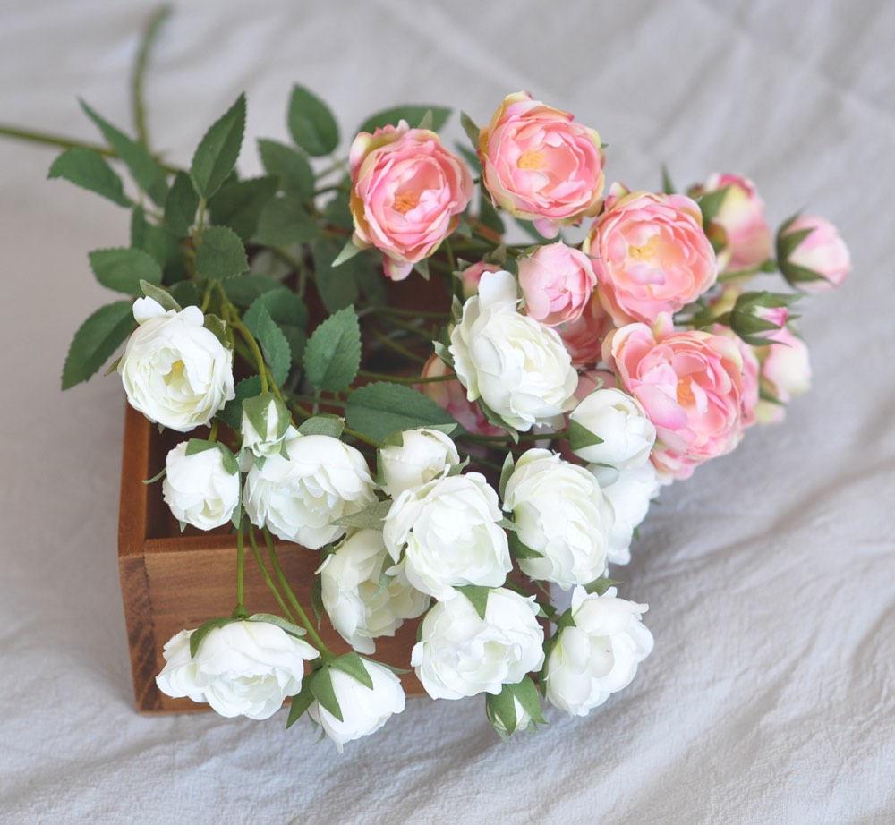 Silk Mini Rose Rambling Rose Pink White Silk Rose Artificial Roses