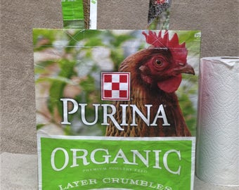 Recycled Feed Bag Tote, reusable tote bag, grocery tote, recycled shopping bag, reusable grocery bag, recycled tote bag, Purina chickens