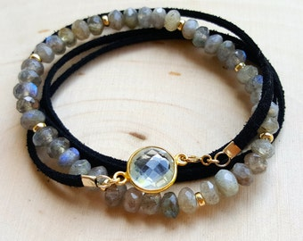 Labradorite and Suede Wrap Stacked Bracelets