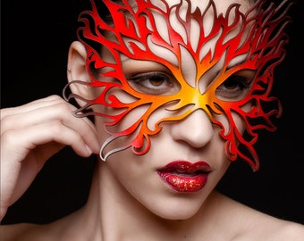 Flames leather mask