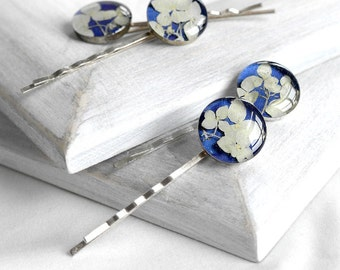 fairytale gift Hair jewelry gift Royal blue hair pins for teen Flowers barrettes for girl Hair clips for her Romantic accessories hair clip