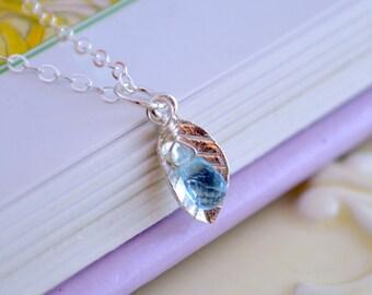 Blue Topaz Jewelry, Child Teen Women, Real Gemstone Necklace, Sterling Silver Leaf, December Birthstone