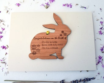 New Baby Card - Personalised Bunny New Baby Card - New Baby - Bunny Rabbit Card - New Baby Keepsake Card - Bunny Card - New Parents