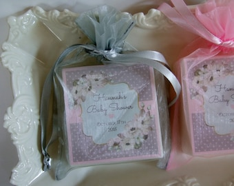 Gray and Pink Shower Favors, Baby Shower, Bridal Shower, Soap Favors, set of 10
