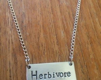 Herbivore ~ Pendant Necklace ~ Vegan, Plant Power, Animal Liberation, Rights, Activism ~ Silver Handmade Hand Stamped Jewellery Jewelry Gift
